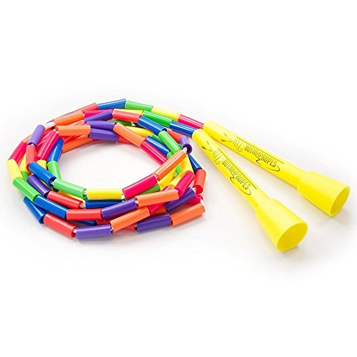 BuyJumpRopes Segmented Kids Jump Rope - Beaded Playground Rope for Kids with Shatterproof Beads and Durable Plastic Handles (Rainbow, 7 Foot)