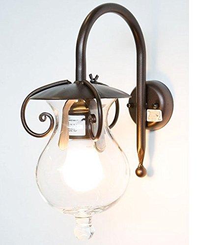 Lámpara Aplique GOCCIAhierro Fundido, Color Negro, Diseño de Cerradura Oxidada