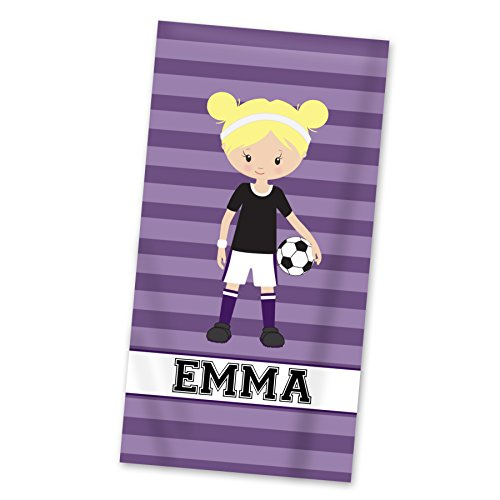 Soccer Beach Towel - Purple Soccer Girl Personalized Name Light Weight Pool Towel by PurpleBerryInk