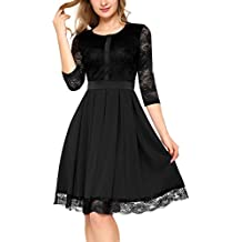 Mixfeer Women's A Line Sleeveless Dress Lace Round Neck Pleated Cocktail Evening Party Dress