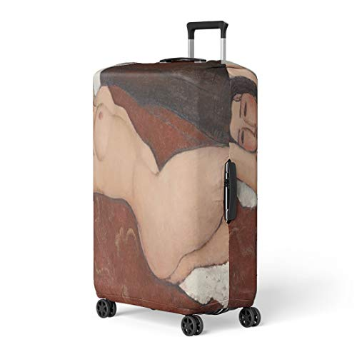 Semtomn Luggage Cover Reclining Nude By Amedeo Modigliani 1917 Italian Modernist Painting Travel Suitcase Cover Protector Baggage Case Fits 22-24 Inch ()
