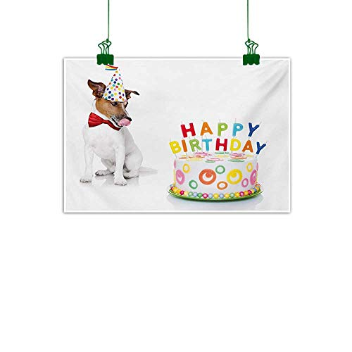 Unpremoon Kids Birthday,Wall Artwork Russel Dog Domestic Puppy Pet with Hat at a Party Celebration with Yummy Cake Living Room Wall Decor Multicolor W 36