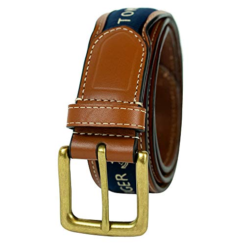 Tommy Hilfiger Men's Ribbon Inlay Belt - Ribbon Fabric Design with Single Prong Buckle, Navy, 34 from Tommy Hilfiger