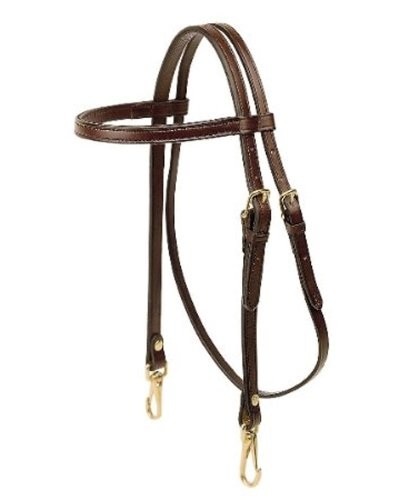 (Tory Leather Arabian Brow Band Headstall with Snap End - Black)