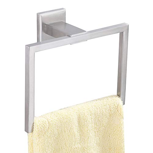 (Towel Ring, Aomasi SUS304 Stainless Steel Square Bath Hand Towel Holder Stylish Bathroom Rack for Remodeled Home, Brushed Nickel)