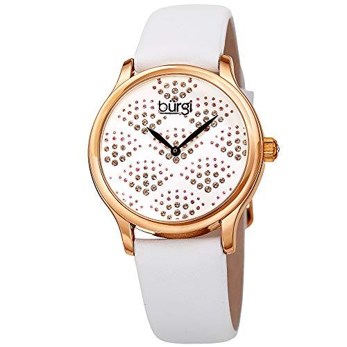 Burgi BUR238 Designer Sparkling Dial Women's Watch – Swarovski Crystals in Beautiful Fan Pattern – Bright Colored Leather Strap (White)