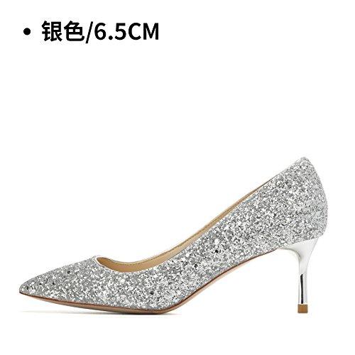 à de soirée Silver hauts chaussures de 6 Talons chaussures chaussures mariage hauts femme de cristal mariage talons Chaussures HUAIHAIZ Escarpins 5CM mariage femmes 76wzqzSP8