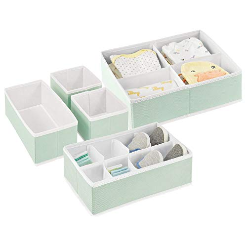 mDesign Soft Fabric Dresser Drawer and Closet Storage Organizer Set for Child/Baby Room or Nursery – Set of 5 Organizers – Mint Green/White