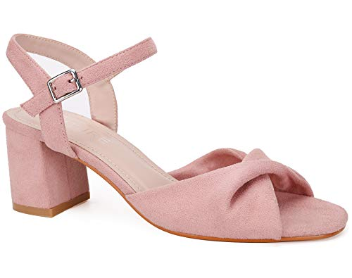 MaxMuxun Women Ankle Strap Court Shoes Sandals Low Block Heel Pumps Size 6 Pink