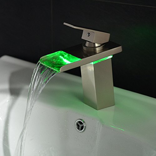 Wovier Chrome LED Water Flow Color Changing Waterfall Bathroom Sink Faucet,Single Handle Single Hole Vessel Lavatory Faucet,Basin Mixer Tap