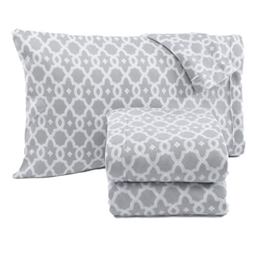 Home Fashion Designs Dara Collection Super Soft Extra Plush Polar Fleece Sheet Set. Cozy, Warm, Durable, Smooth, Breathable Winter Sheets with Printed Pattern Brand. (Full, Grey) (Renewed)