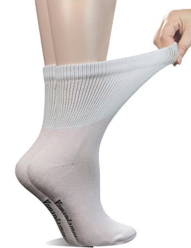 Yomandamor Women's 5 Pairs Non-Binding Cotton Crew Diabetic/Dress Socks with Seamless Toe and Cushion Sole (Cotton Foot Socks)