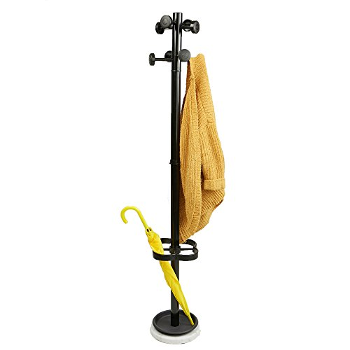 Mind Reader UMBCR-BLK Freestanding Jacket, Hat, Coat Rack Hanger Umbrella Holder with 8 Hooks, Black