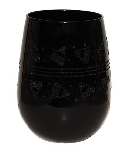 Libbey Stemless Black Halloween Wine Glass - Candy Corn -