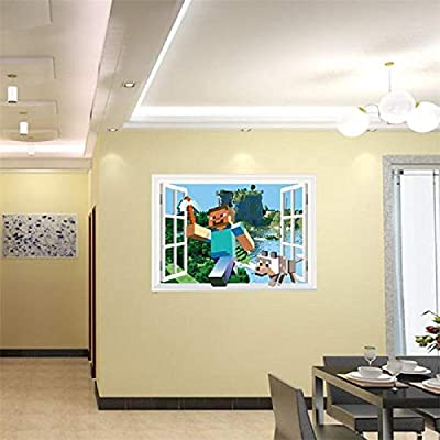 EpicGifts Minecraft Wall Decal Sticker 3D Cartoon Wallpaper Through The Window Home Decoration Boys Room Peel and Stick