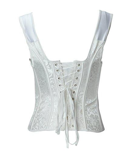 Bslingerie - Corsé con brocado estilo gótico victoriano para mujer Blanc Appliques Florales