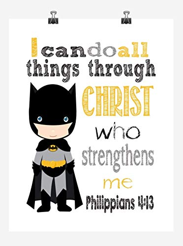 Batman Superhero Inspirational Nursery Decor Print - I Can Do All Things Through Christ Who Strengthens Me - Philippians 4:13 - Multiple Sizes