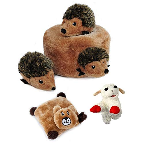 En Casa Goods Hedgehog Den Dog Toy with Brown Bear Pull Squeaker Toy and Lamb Chop Dog Toy Plus 8 Squeaker Toy Game Ideas