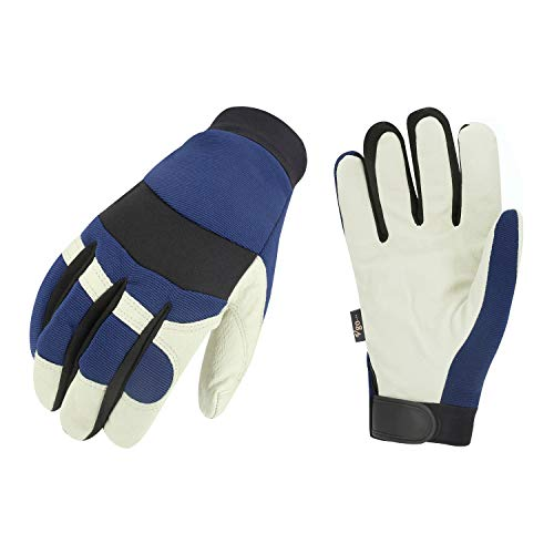 Vgo. Pigskin Leather Warm Winter Cold Storage Frozen Safety Working Gloves(3-Pairs)(Color Blue, Size M/L/XL/XXL) by Vgo...