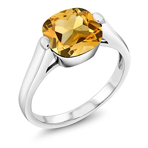 925 Sterling Silver Yellow Citrine Women's Solitaire Ring 3.22 Ct Cushion Gemstone Birthstone (Size 7)