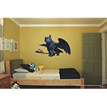 "Toothless how to train your dragon Night fury 3D Wall Decal Sticker 18"", 28""or 36"""