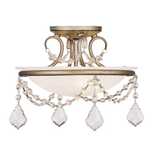 Livex Lighting 6523-73 Chesterfield/Pennington 2 Light Ceiling Mount, Hand Painted Antique Silver Leaf
