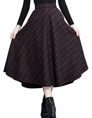 chouyatou Women's Elastic Waist A-Line Swing Check Plaid Midi Wool Skater Skirt Hand Pocket