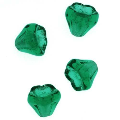 Jablonex Czech Glass Beads 5mm X 6mm Flower Bell Beadcaps Emerald Green (15)