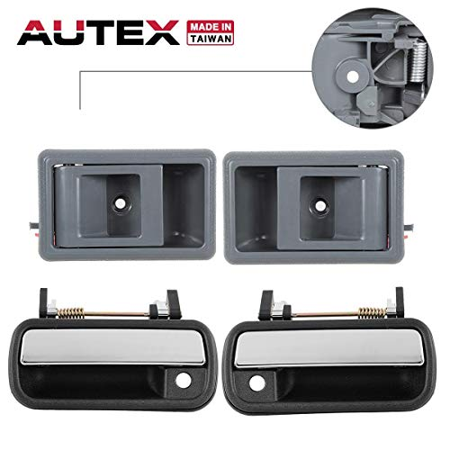 AUTEX 2pcs Left/Right Gray Interior Inner + 2pcs Left/Right Chrome Outer Exterior Door Handle Compatible with 1989 1990 1991 1992 1993 1994 1995 Toyota Pickup