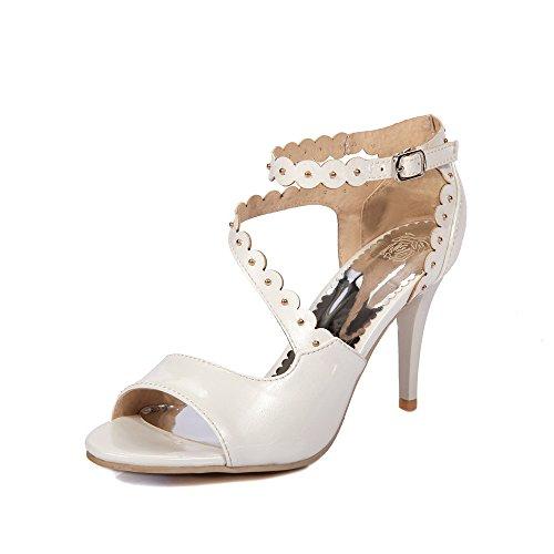 Pu artificiale YCMDM modo delle donne High Heel traspirante Hollow Sandali di sera del partito da sposa , white , 39