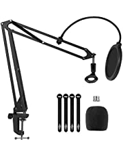 """YNGRUE Microphone Arm Stand, Upgraded Heavy Mic Arm Microphone Stand Boom Suspension Stand with Pop Filter 3/8"""" to 5/8"""" Adapter Mic Clip for Blue Yeti Nano Snowball Ice and Other Mic"""