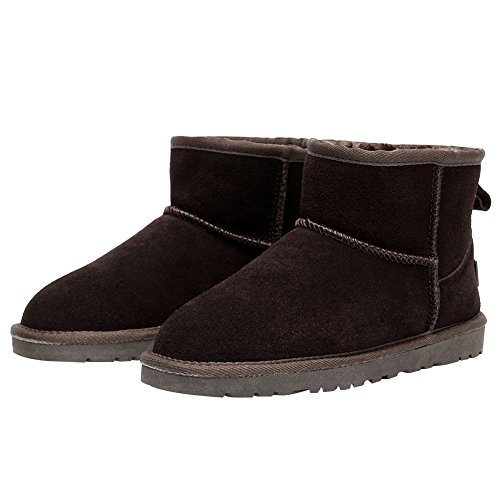 rismart Women Winter Warm Fur Lined Ankle Boots Comfort Suede Snow Boots Coffee SN1054 US11 MCMav424pM