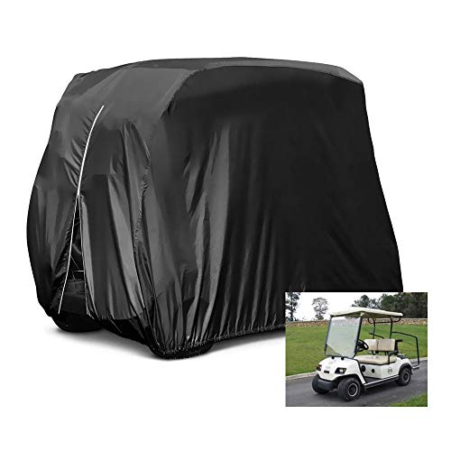 HOMEYA Golf Cart Cover, Waterproof Dust Proof Durable Club Car Cover for 4 Passenger Seat EZ GO Club Car Yamaha Golf Carts Fits up to 112.5 inch Long - Black