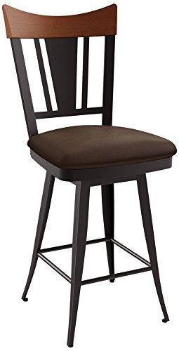 Amisco 26 Inch Bar Stools - Amisco Stork Swivel Metal Counter Stool with Backrest, 26-Inch, Cobrizo/Bark/Cognac