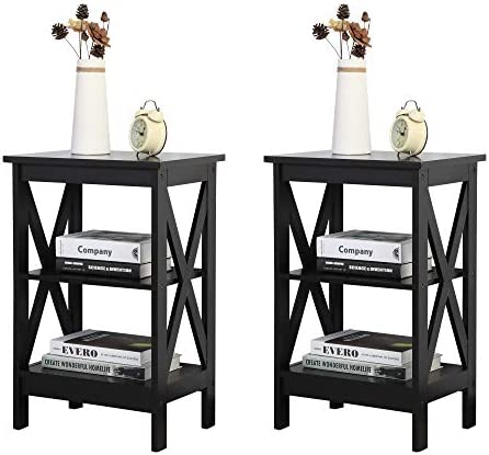 JAXPETY Set of two Modern 3-Tier Nightstand Desk Storage Shelf, X-Design End Tables Coffee Side Table for Office, Living Room, Bedroom Furniture, Black