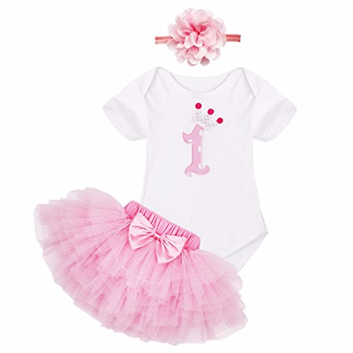 iiniim Neugeborenes Baby Mädchen Bekleidung Set Kurzarm Shirt+ Tütü Röckchen+Kopfband Rosa Rock+Blume Stirnband XL (74-80/9-12 Monate)
