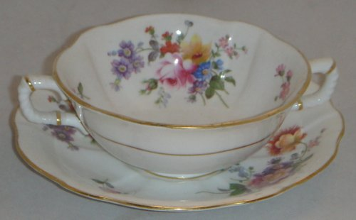 Royal Crown Derby Replacements (Royal Crown Derby Derby Posies Footed Cream Soup Bowl & Saucer Set (Imperfect))