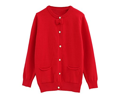 SMILING PINKER Little Girls Crewneck Cardigans Solid Bow Knit Sweaters Button Long (Toddler Girls Red Sweater)