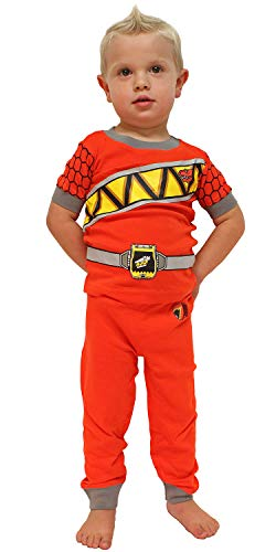 INTIMO Saban's Power Rangers Dino Force Boys' Costume Pajama Set - Runs Small (4T, Red) ()