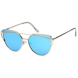 QINKY Womens Cateye Aviator Metal Cross Bar Sunglasses - Mirror Copper Lens on Black Frame