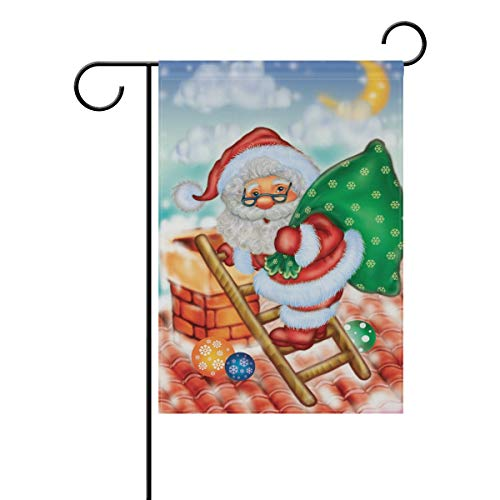 Naanle Christmas Santa Claus on The Roof Double Sided Polyester Garden Flag 12 X 18 Inches, Christmas Winter Holiday Decorative Flag for Party Yard Home Decor