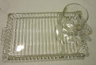 Vintage Depression Glass Hazel Atlas Snack Sip & Smoke Set From Orchard Crystal Line ()