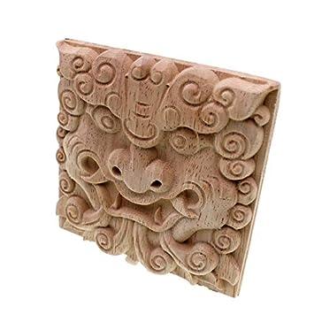 SienHositg Vintage Unpainted Wood Carved Corner Onlay Applique Frame for Home Furniture Wall Cabinet Door Decor Crafts 15cm