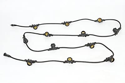 String Light Cord with 12-inch Socket Spacing and 12 Medium-Base Sockets (E26), 12 Foot, Black. Ideal for LED Grow Light Bulbs.
