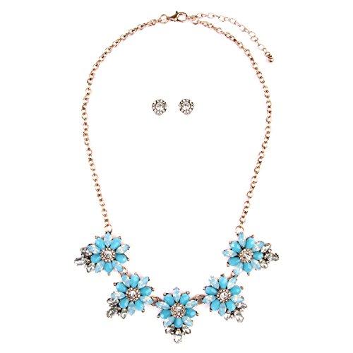 Chunky Floral Statement Necklace - Flower Multi Acrylic Crystal Wedding Bridal Jewel Collar Bib & Drop Earrings Set (Light Blue) ()