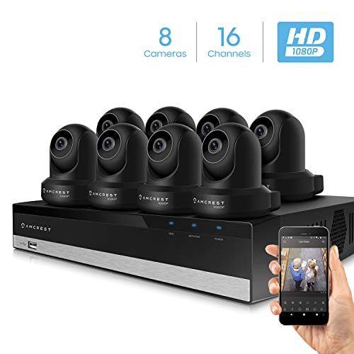 Amcrest 2MP Security Camera System w/ 4K 16CH NVR, (8) x 2-Megapixel Dome WiFi IP Cameras, Pan/Tilt Surveillance, Two-Way Audio, NV2116-IP2M-841B8 (Black)