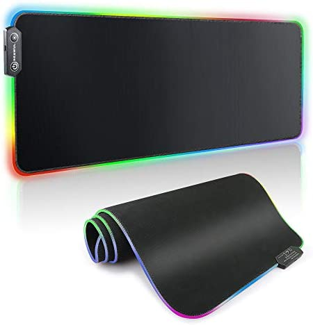 Large RGB Gaming Mouse Pad - REAWUL 14 Modes Oversized Glowing Led Extended Mousepad, Anti-Slip Rubber Base and Waterproof Surface, Extra Large Soft Led Computer Keyboard Mouse Mat - 31.5 x 11.8in