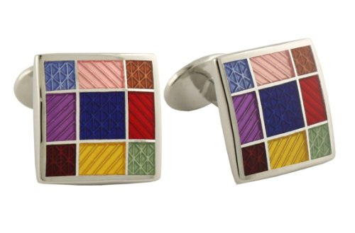 David Donahue Sterling Silver Squares Cufflinks - Multi-Color (Sterling Silver Two Tone Cufflinks)
