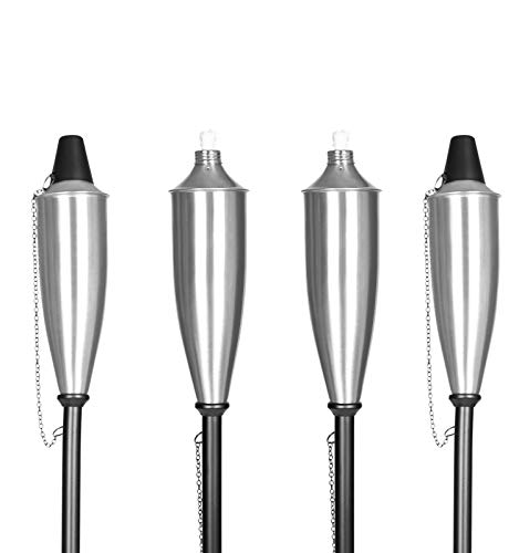 BIRDROCK HOME 4 Pack Outdoor Genie Can Torches | Flame Light Torch | Satin Silver Patio Lighting | Metal Lamp (Torches Backyard)