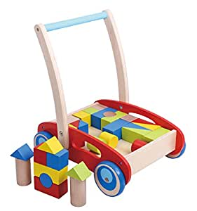 Block and Roll Cart Wooden Push and Pull Baby Walker, Red